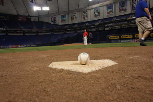 First Foul Ball on Metrodome Home Plate