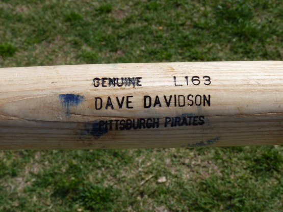 Label close up on Brian Myrow bat